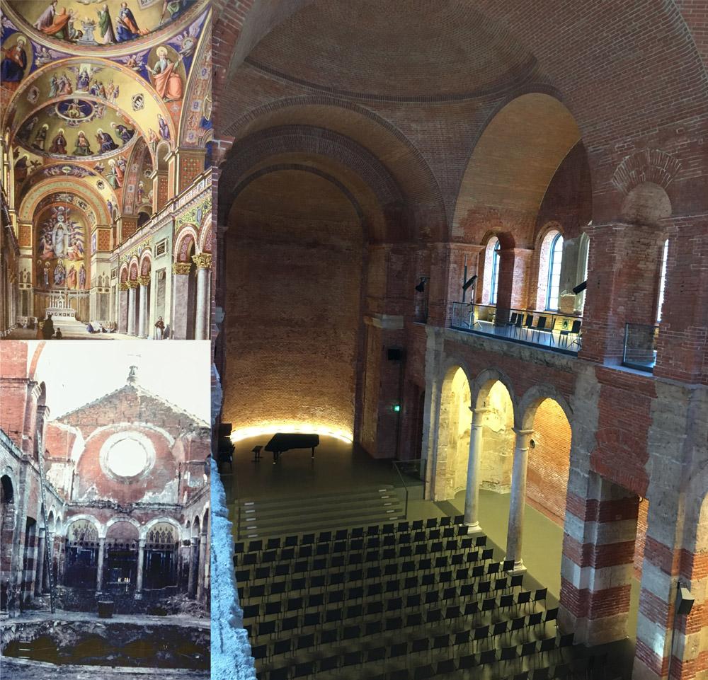 En haut à gauche, la chapelle du palais avant la guerre. A droite, son état aujourd'hui.