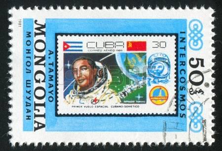 Un timbre mongol représentant Arnaldo Tamayo, premier cosmonaute cubain.